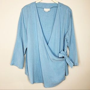 SOFT SURROUNDINGS Chambray Tied Crossover Shirt